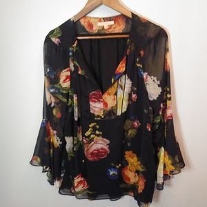 Gibson Latimer Floral Bell Sleeve Boho Top L